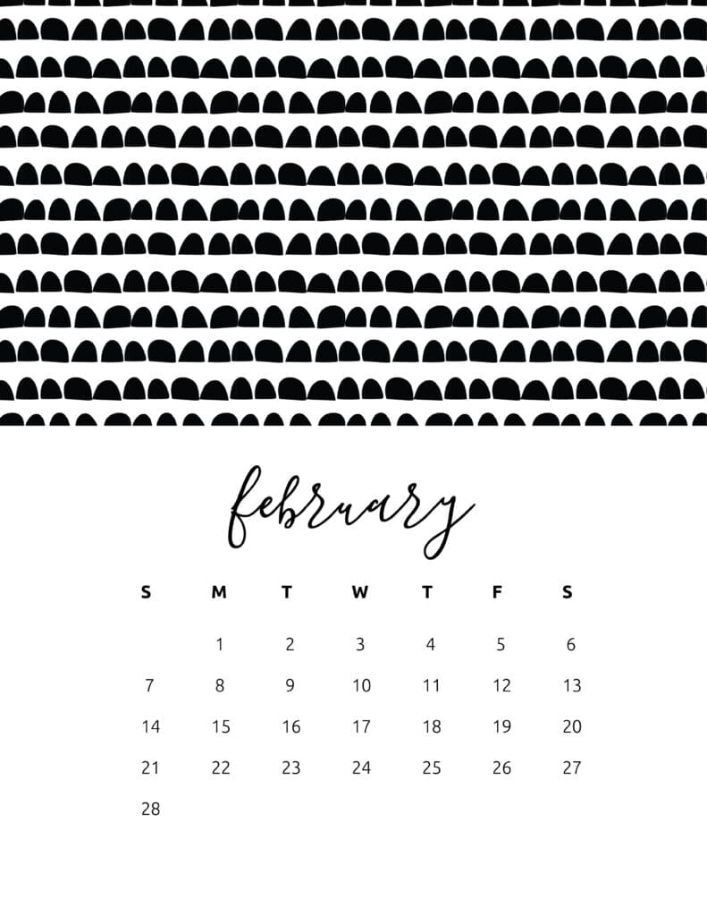 Free Printable February 2021 Calendar Patterns