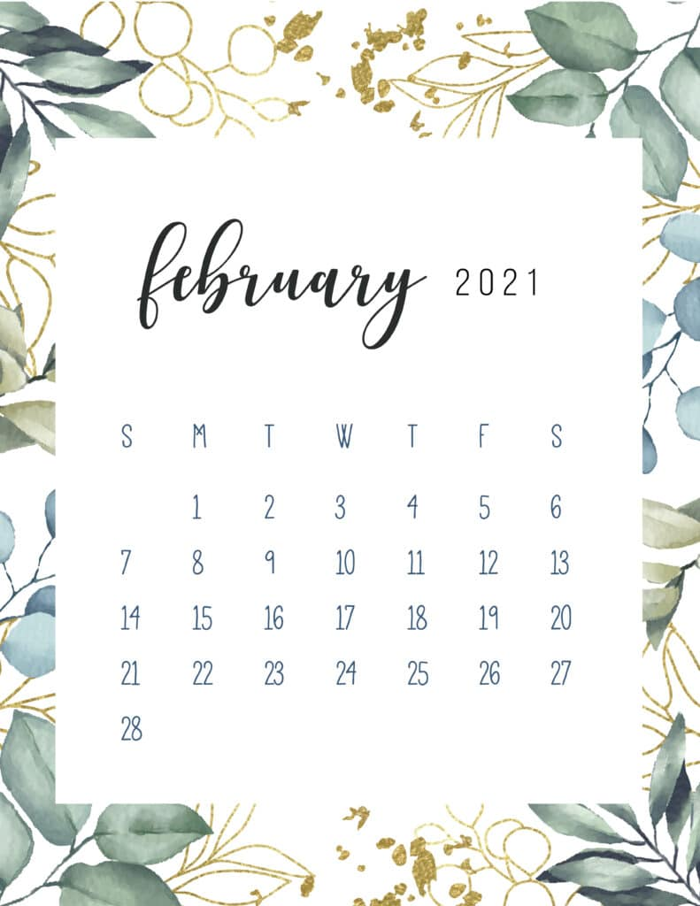 Free Printable February Calendar 2021 Botanical