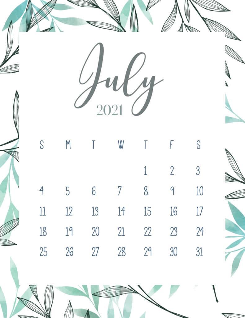 Free Printable July 2021 Botanical Calendar