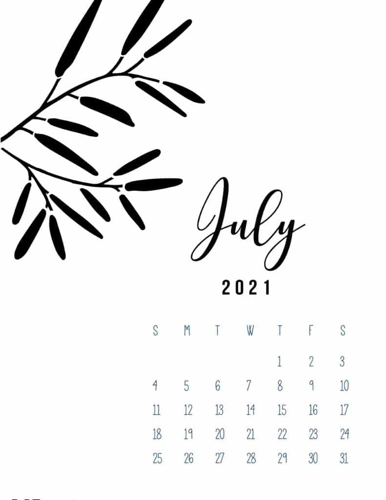 Free Printable July 2021 Calendar Botanical