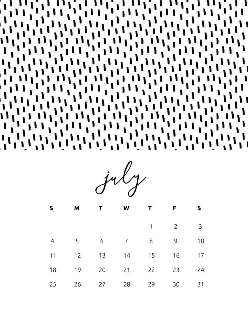 Free Printable July 2021 Calendar Patterns