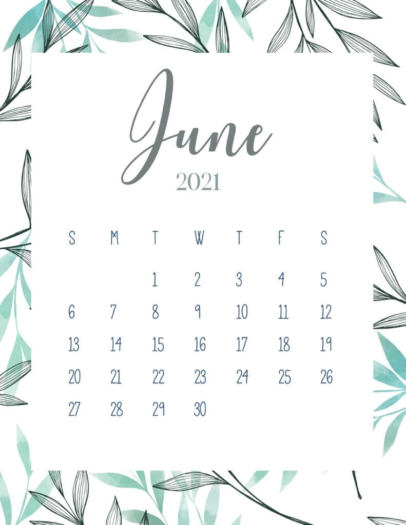Free Printable June 2021 Botanical Calendar