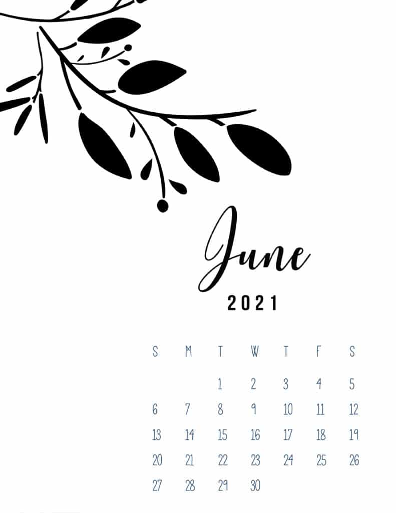 Free Printable June 2021 Calendar Botanical