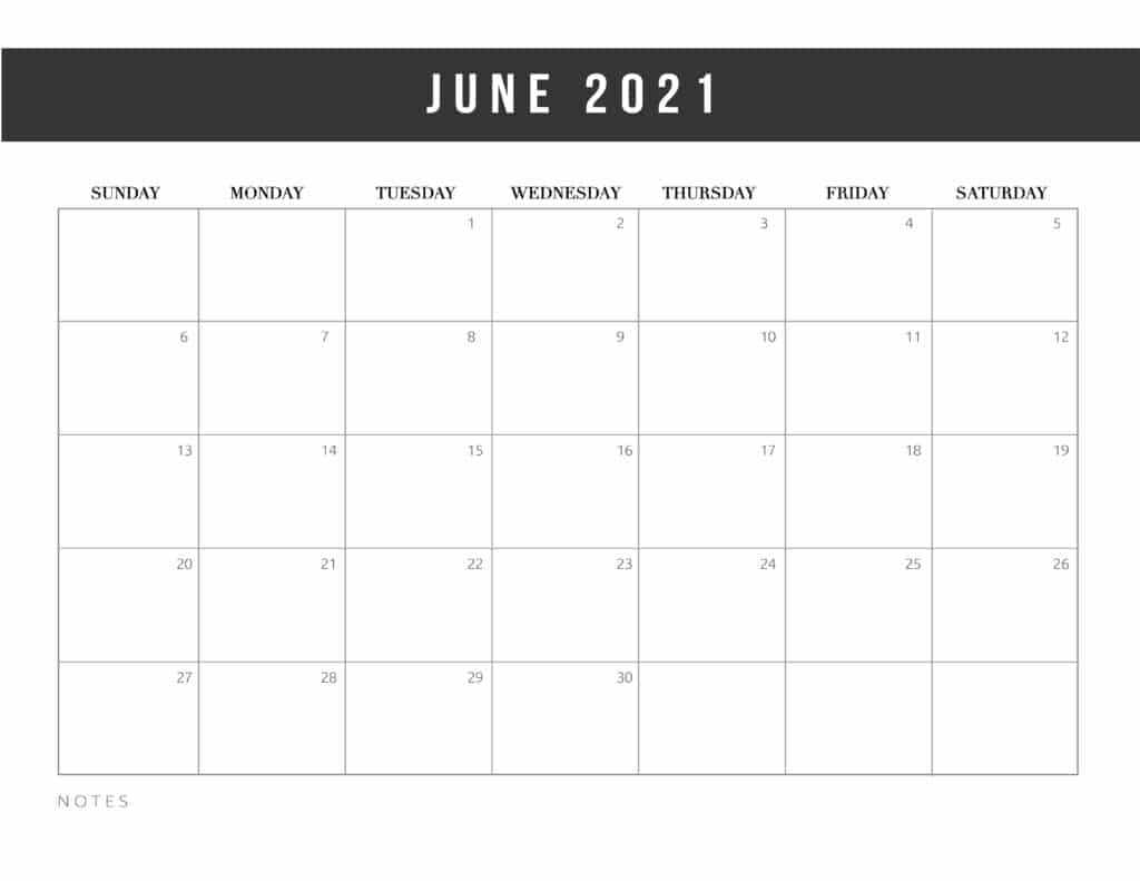 Free Printable June 2021 Calendar Template