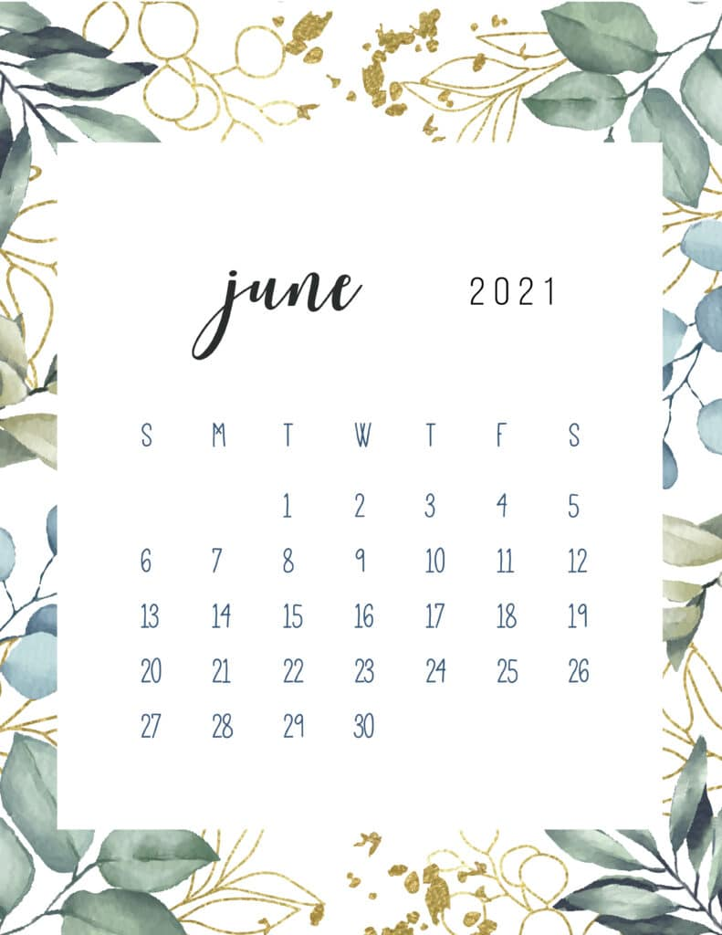 Free Printable June Calendar 2021 Botanical