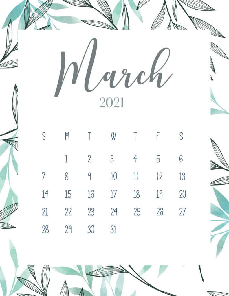 Free Printable March 2021 Botanical Calendar
