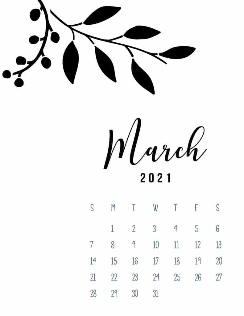 Free Printable March 2021 Calendar Botanical