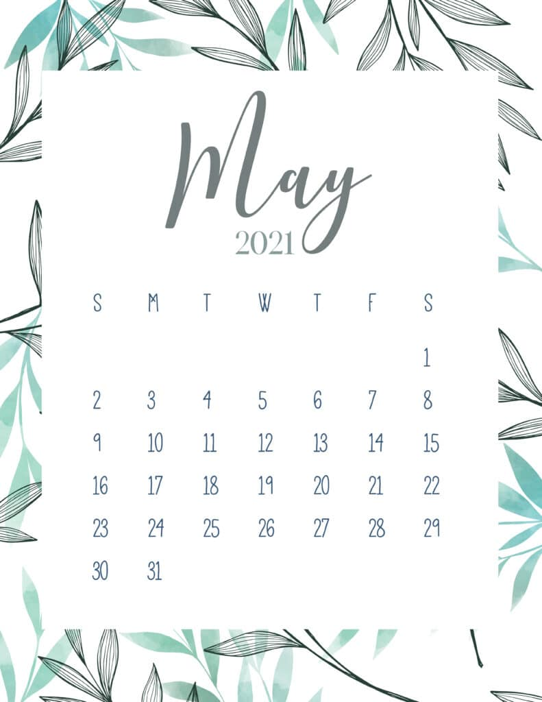 Free Printable May 2021 Botanical Calendar