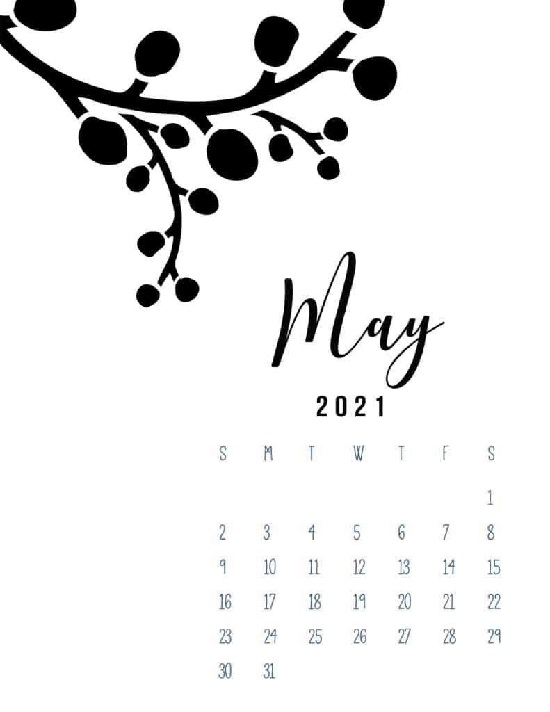 Free Printable May 2021 Calendar Botanical