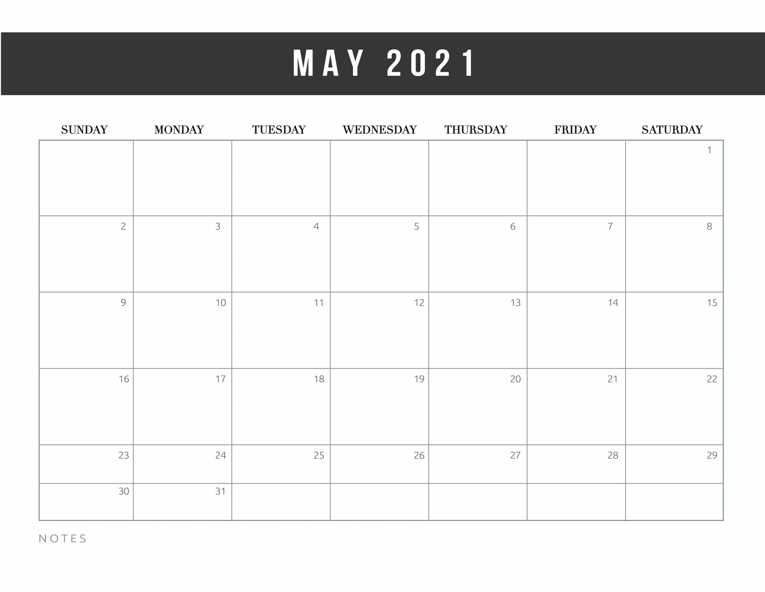 Free Printable May 2021 Calendars World Of Printables