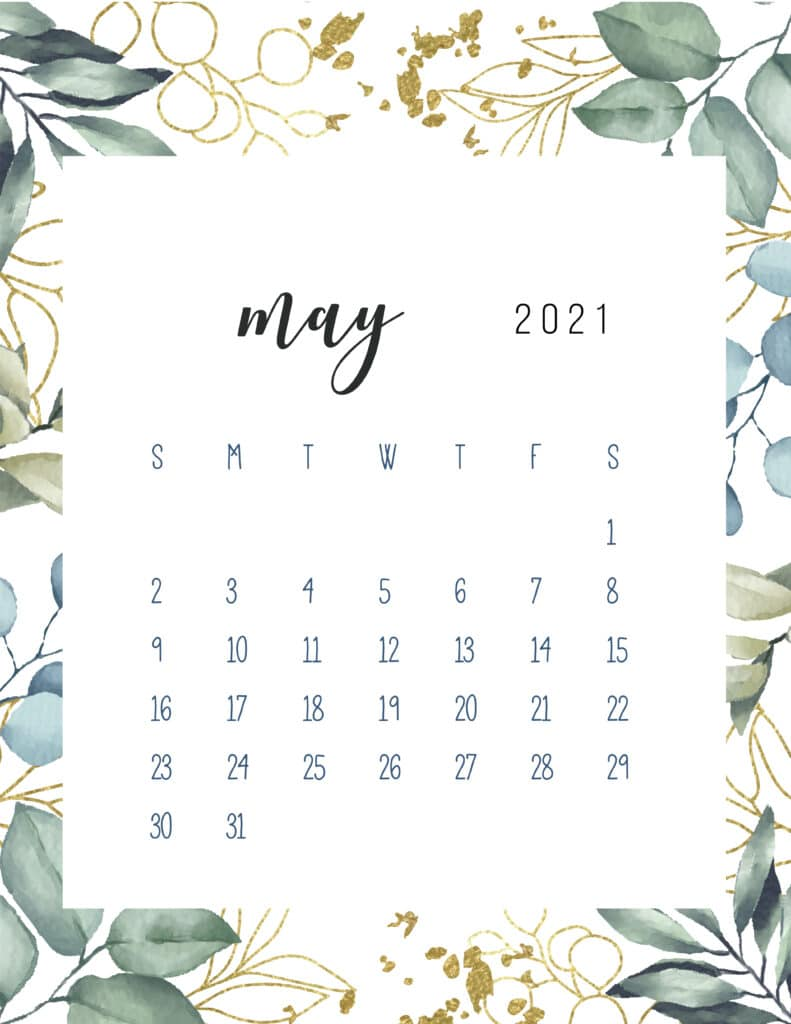 Free Printable May Calendar 2021 Botanical
