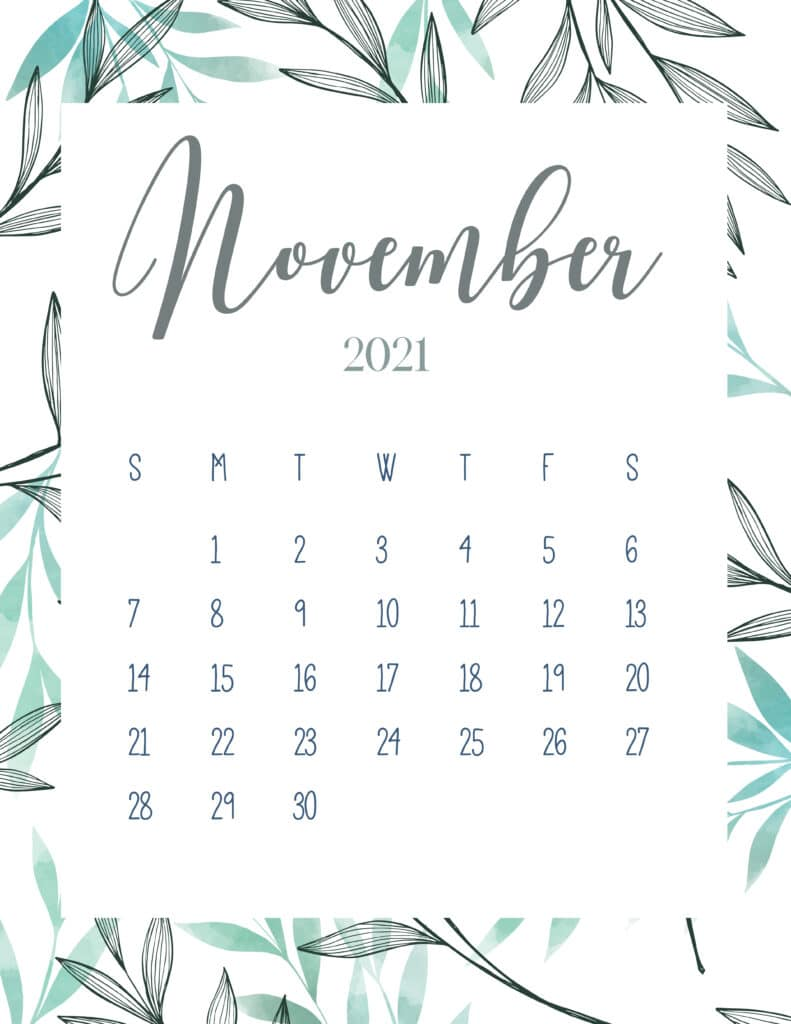 Free Printable November 2021 Botanical Calendar