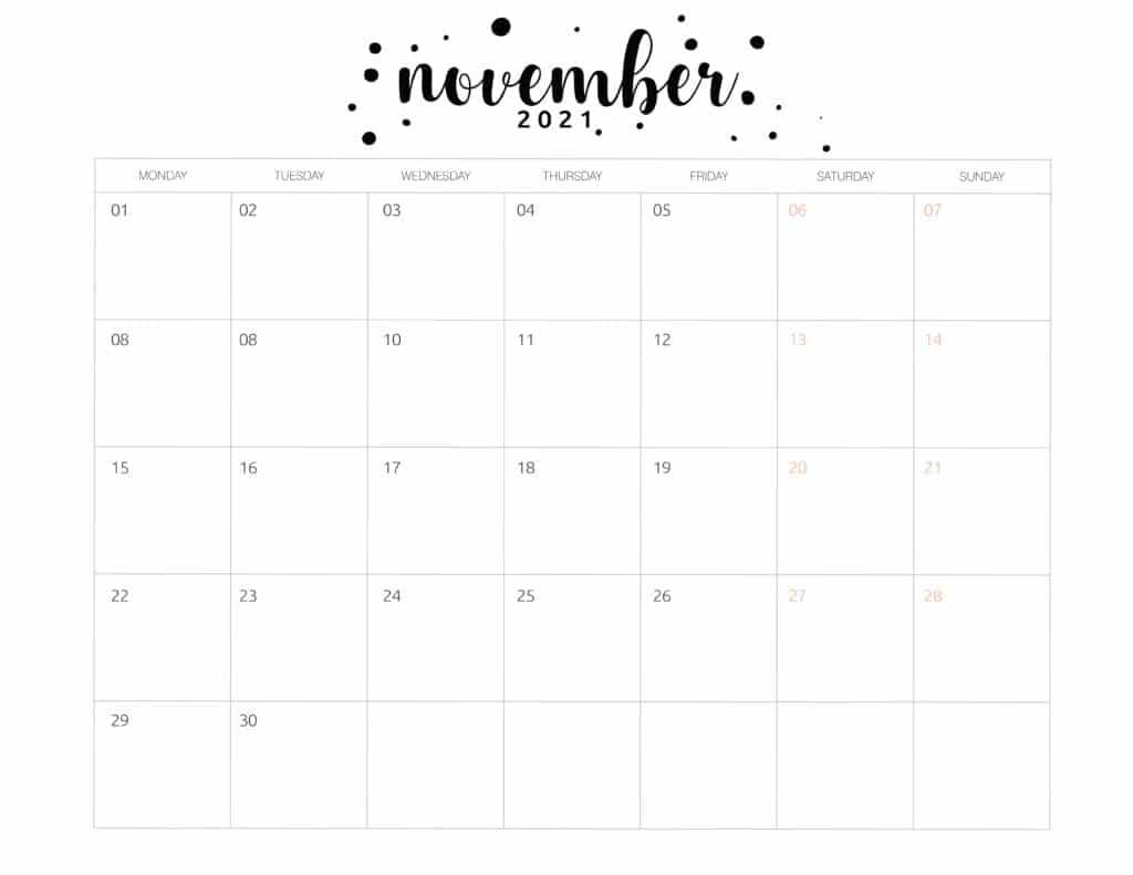 Free Printable November 2021 Calendar Brush Art