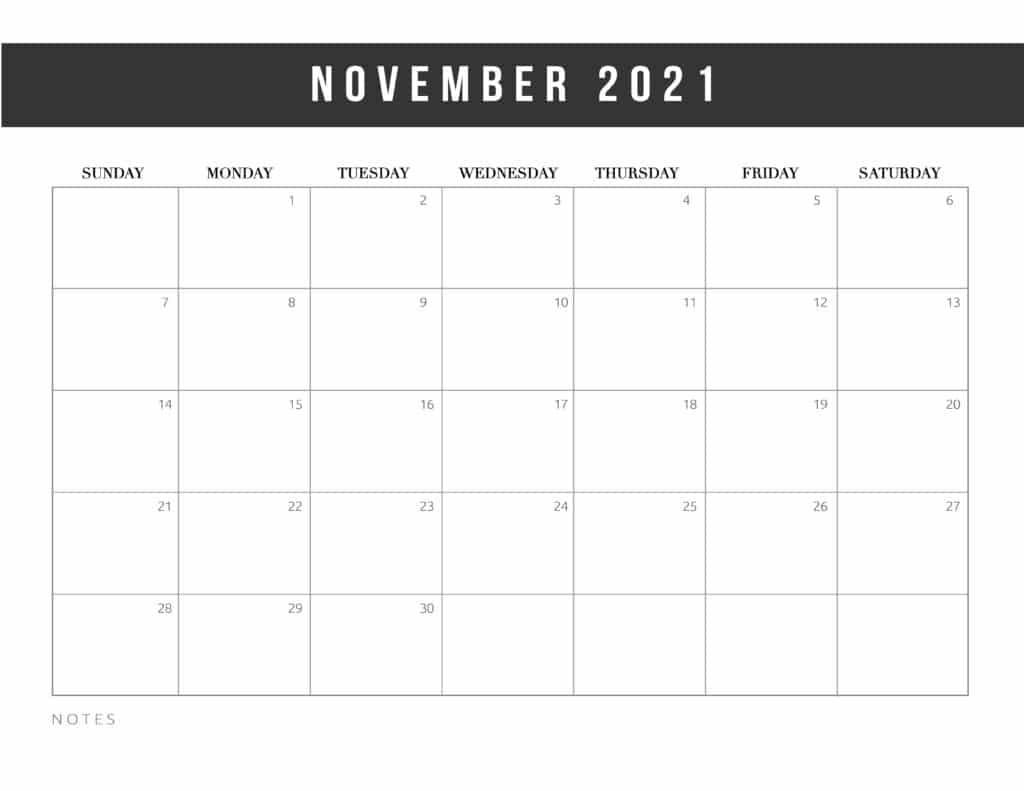 Free Printable November Calendar 2021 Botanical