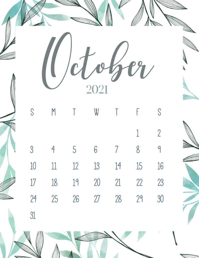 Free Printable October 2021 Botanical Calendar