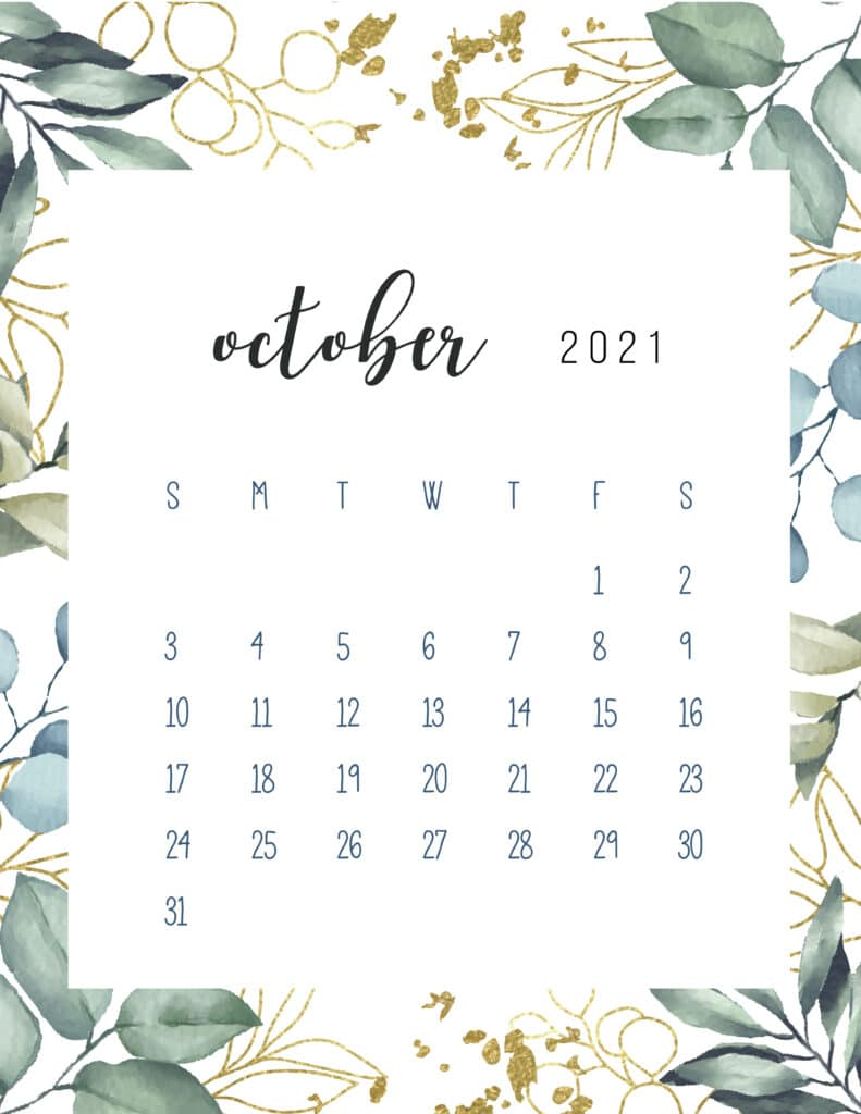 Free Printable October Calendar 2021 Botanical