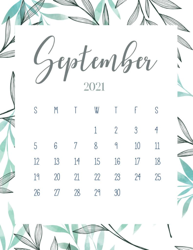 Free Printable September 2021 Botanical Calendar