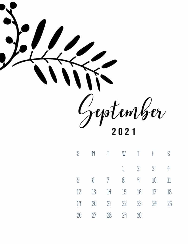 Free Printable September 2021 Calendar Botanical