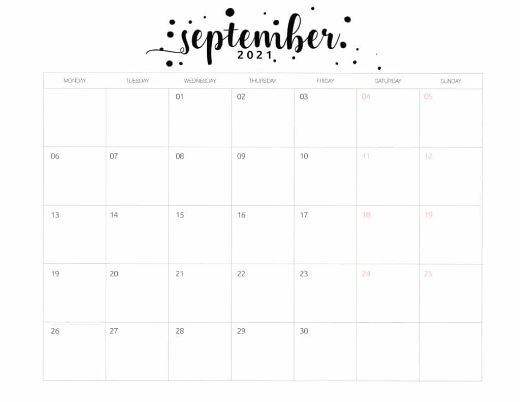 Free Printable September 2021 Calendar Brush Art