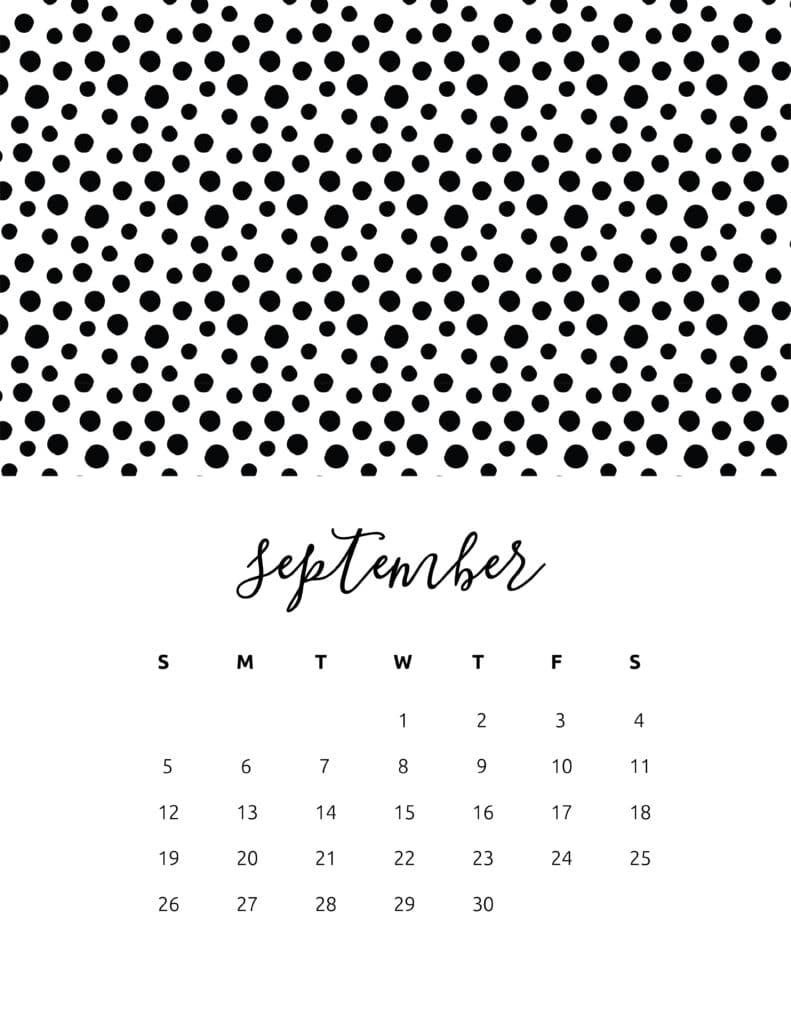 Free Printable September 2021 Calendar Patterns