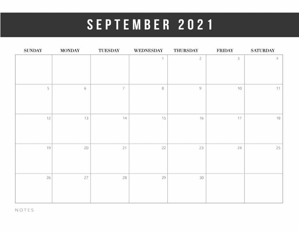 Free Printable September 2021 Calendar Template