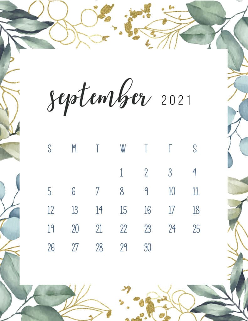 Free Printable September Calendar 2021 Botanical