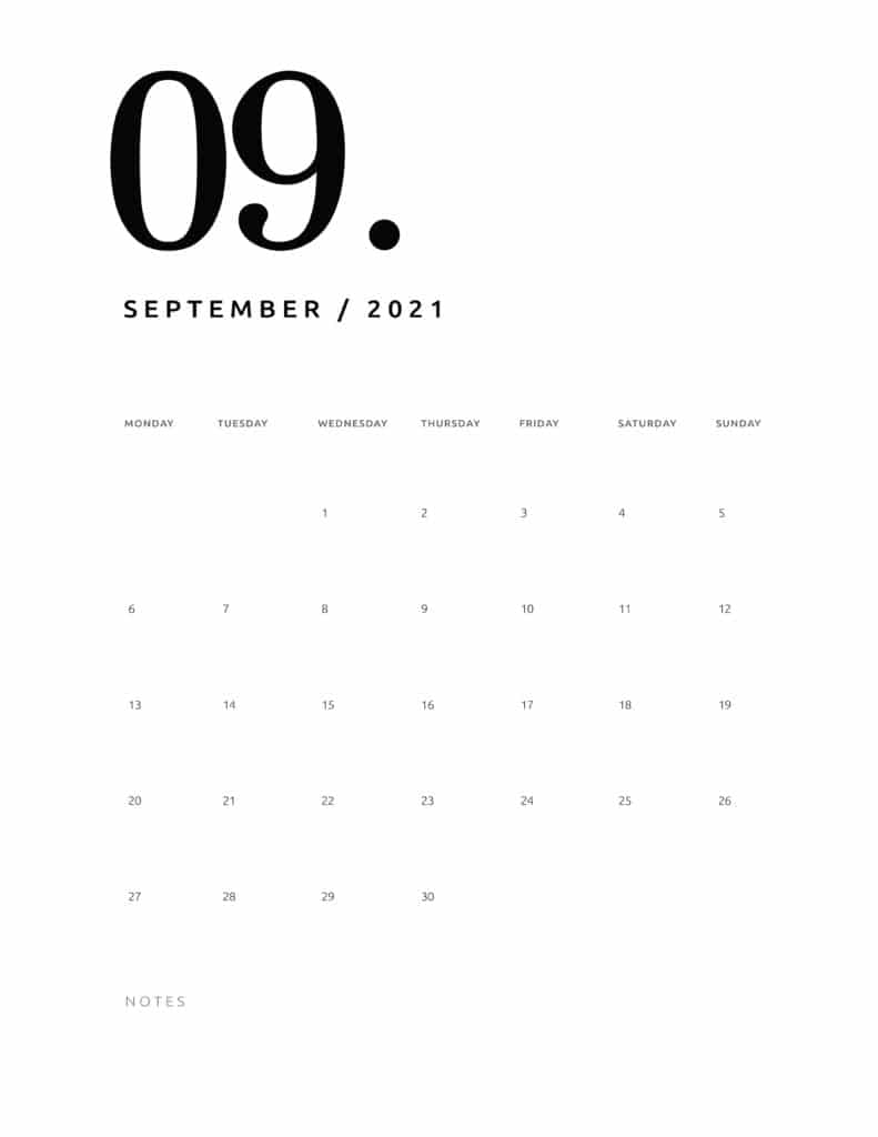Free September 2021 Calendar Numerical