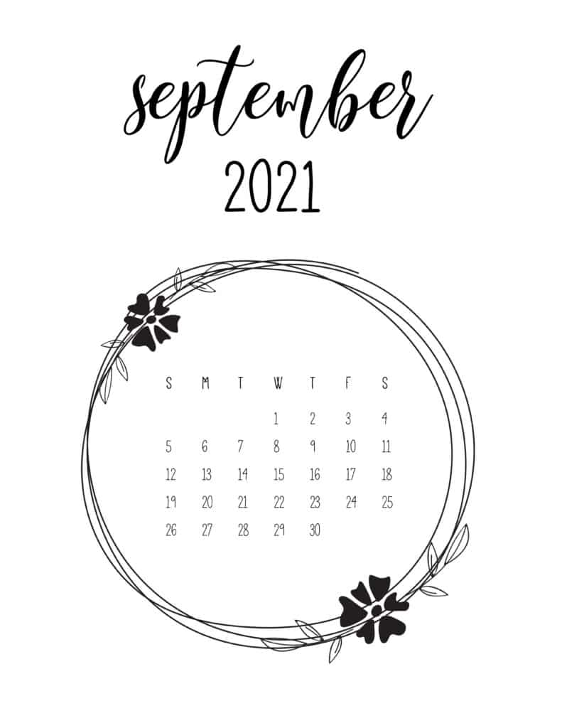 Free September 2021 Floral Frame Calendar