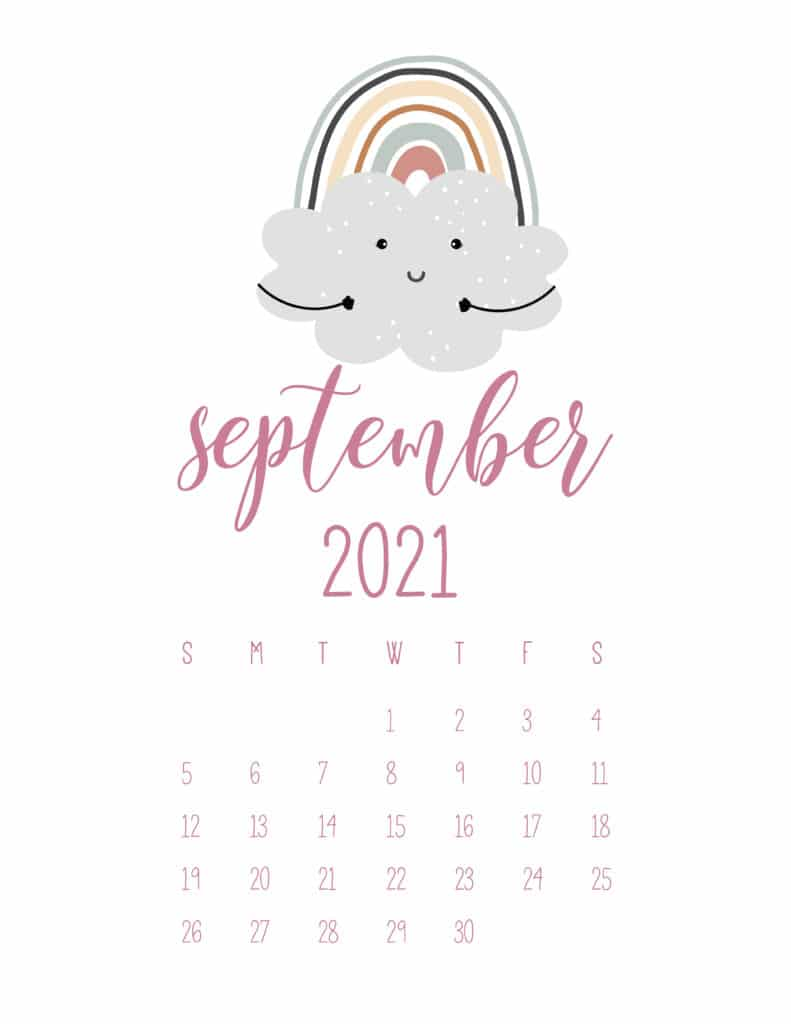Free September 2021 Rainbows Calendar