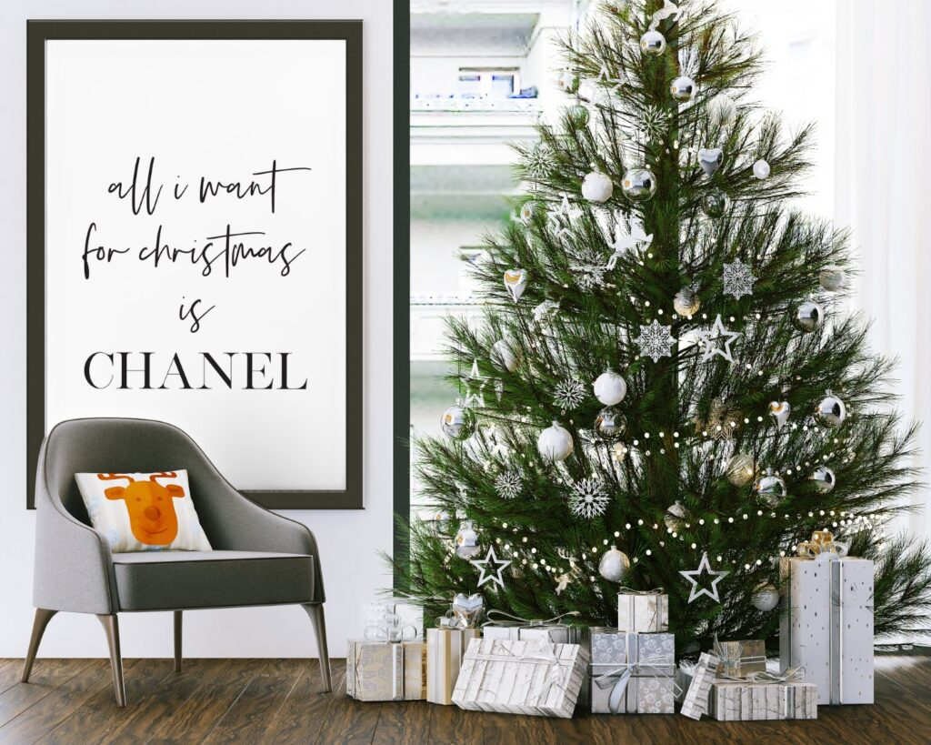 Free all I want for Christmas is Chanel printable wall art