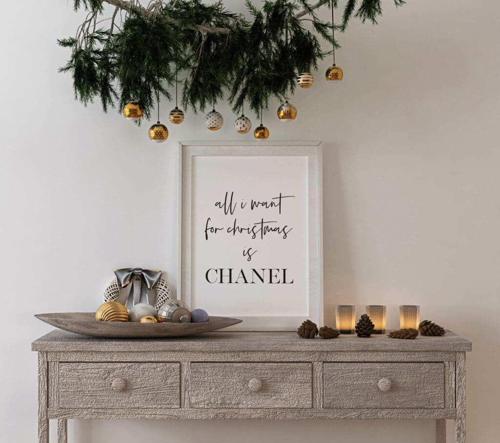 Free all I want for Christmas is Chanel wall art print