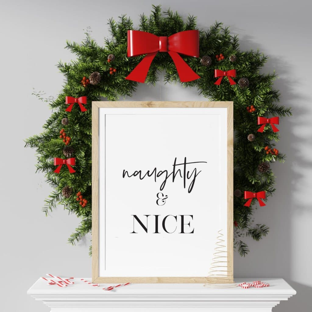 Free naughty and nice printable wall art