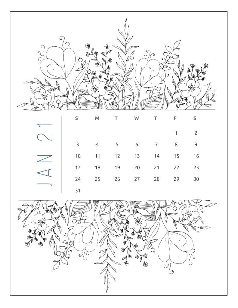 January 2021 Free Printable Calendar Floral Style