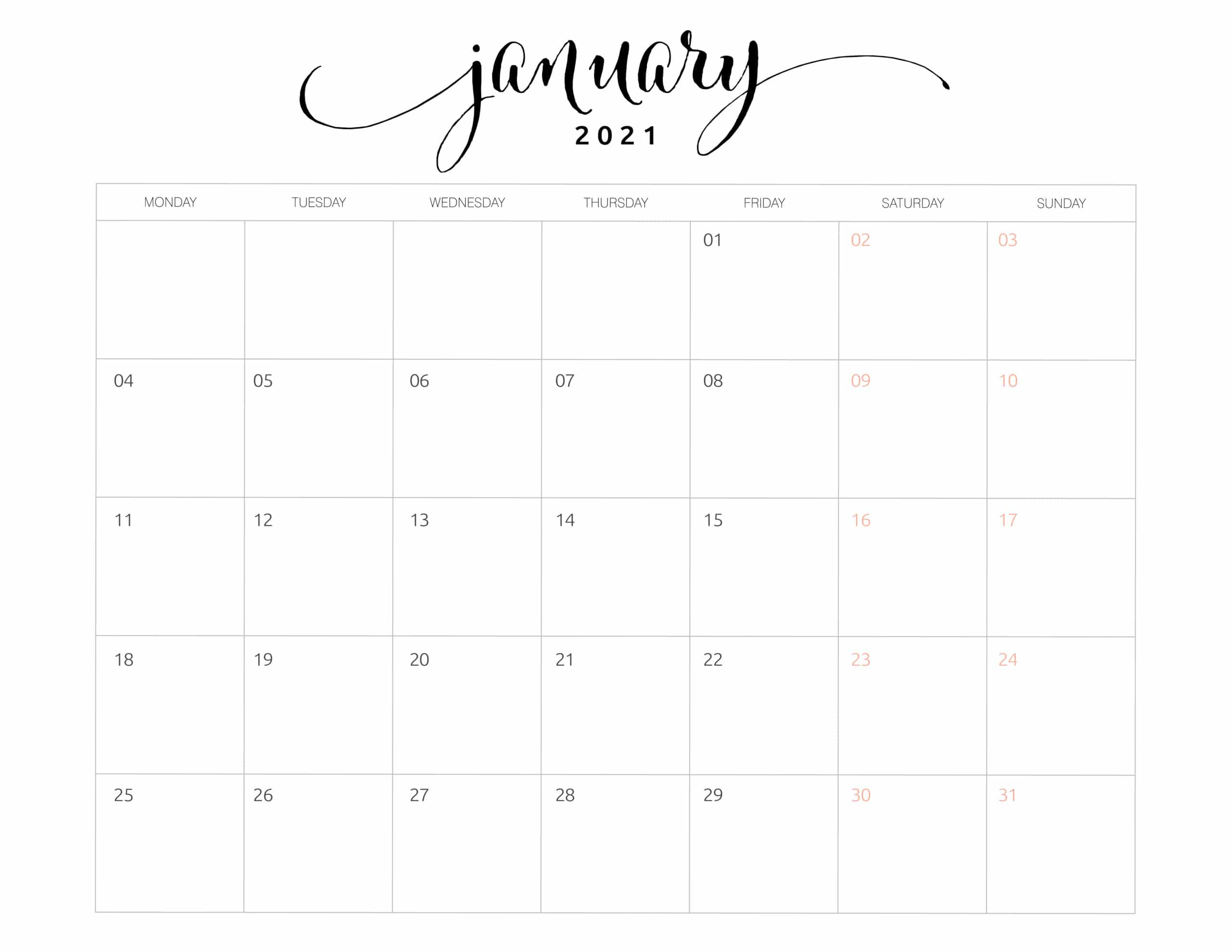 2021 Monthly Calendar Monday Start - World of Printables