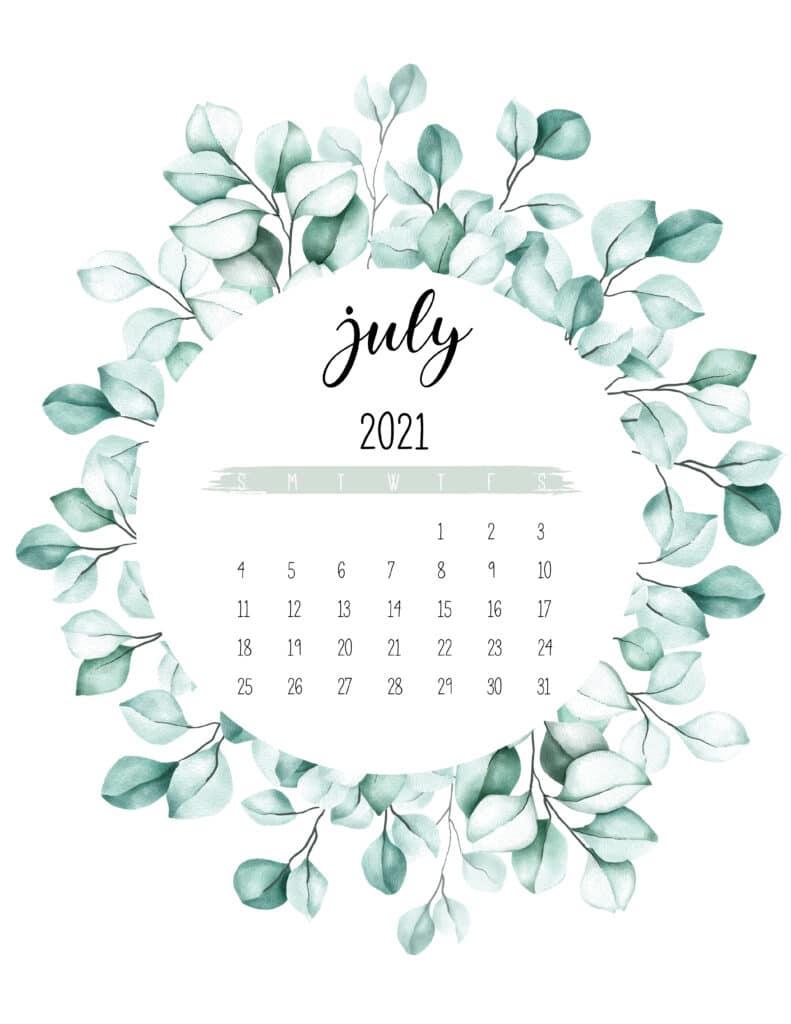 July 2021 Calendar Botanical Theme