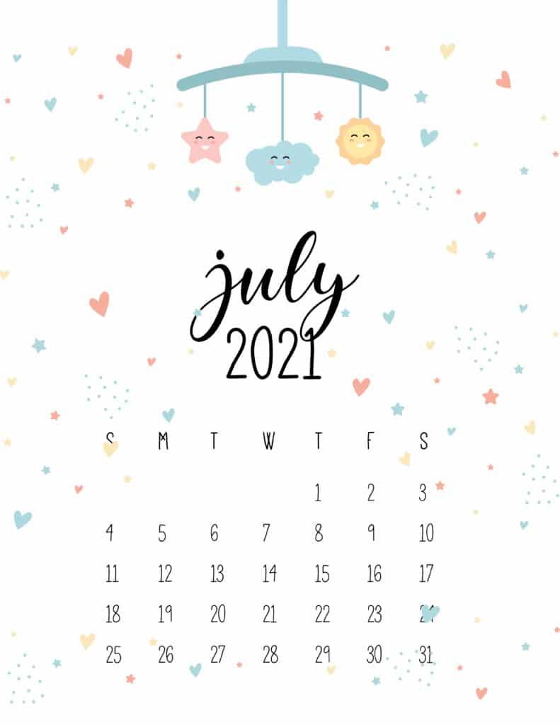 July 2021 Calendar Cute Nursery Mobile
