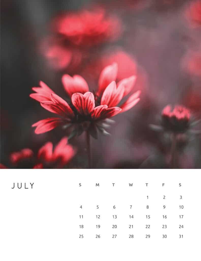 July 2021 Calendar Floral Photography