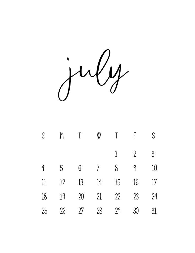 July 2021 Calendar Free Printable Template