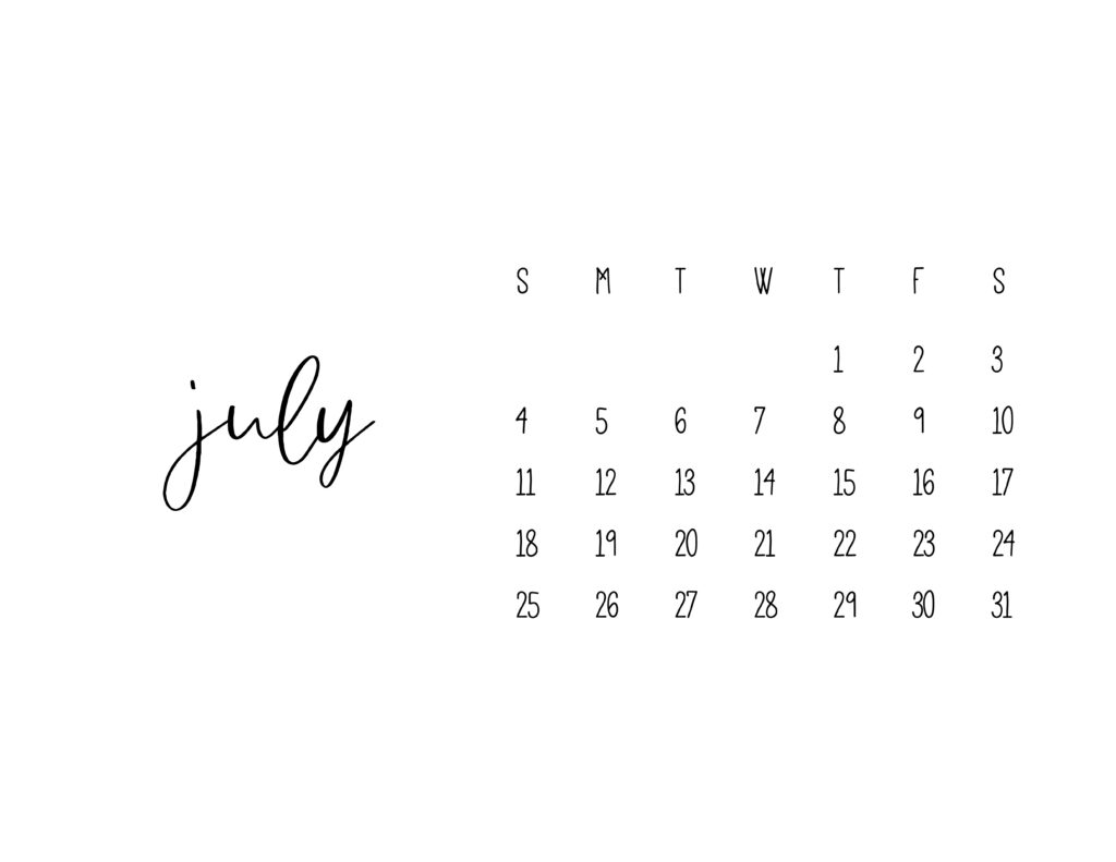 July 2021 Calendar Printable Free Template