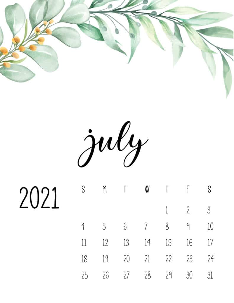 July 2021 Floral Calendar