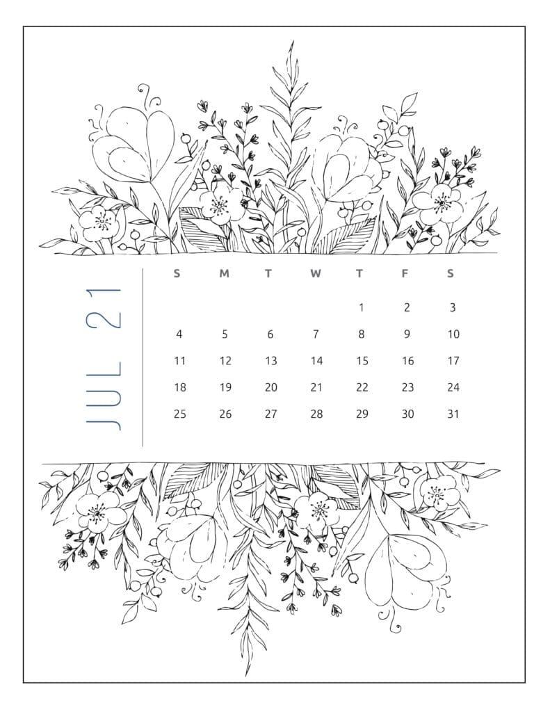 July 2021 Free Printable Calendar Floral Style