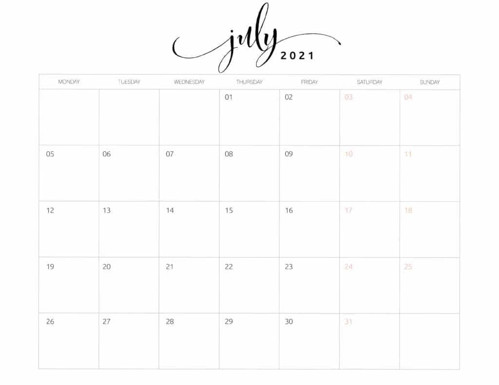 July 2021 Monthly Calendar Monday Start