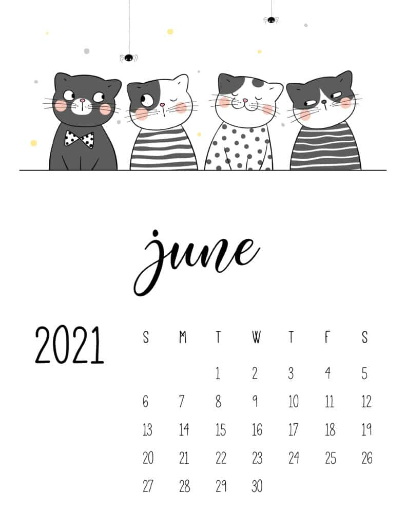 June 2021 Calendar Cute Cats