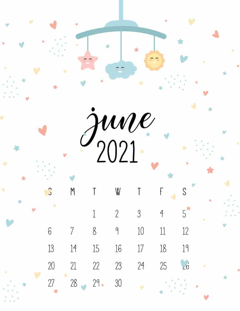June 2021 Calendar Cute Nursery Mobile