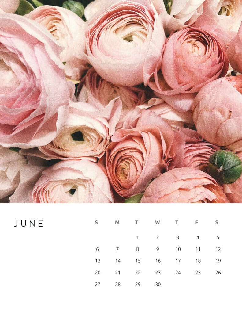 June 2021 Calendar Floral Photography