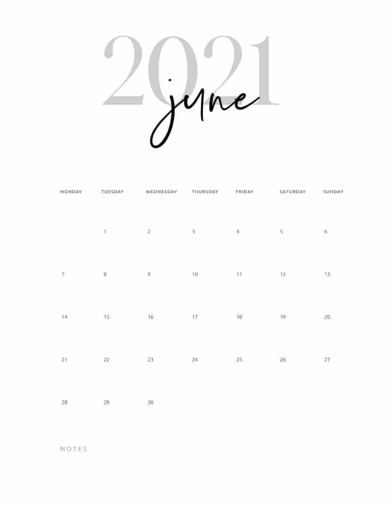 June 2021 Calendar Printable Cursive
