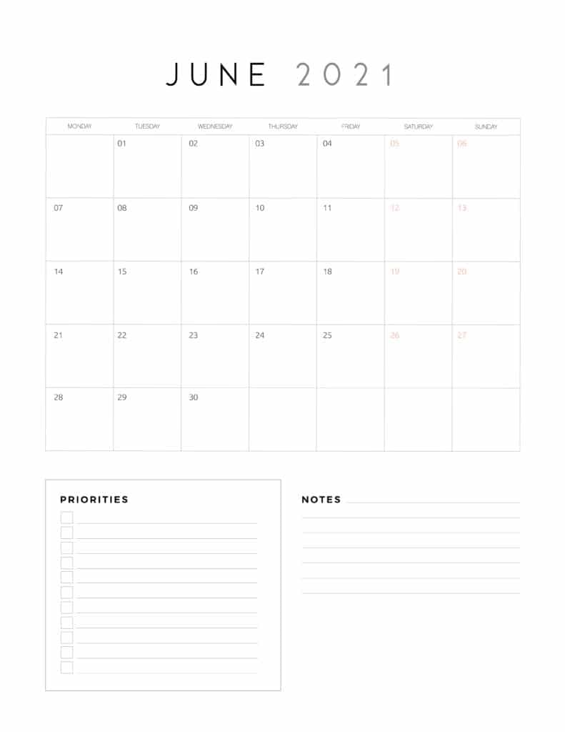 June 2021 Calendar With Priorities And Notes