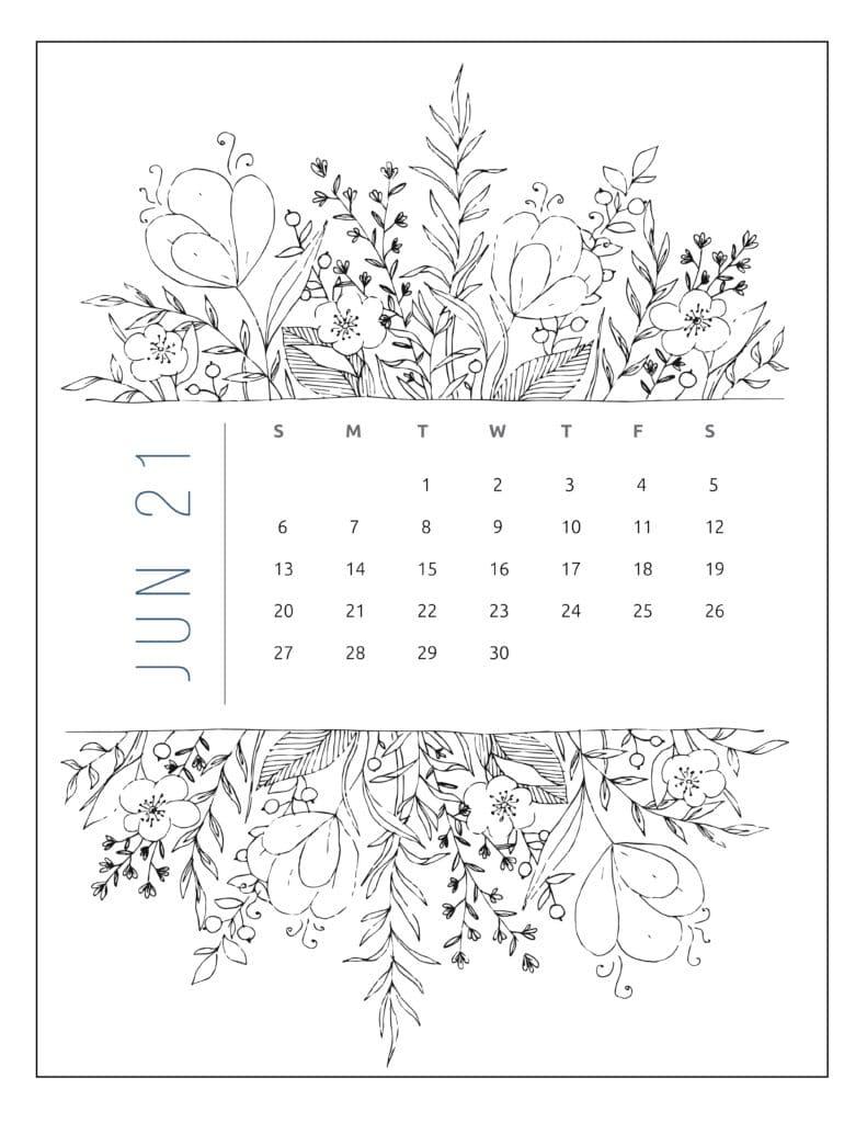 June 2021 Free Printable Calendar Floral Style