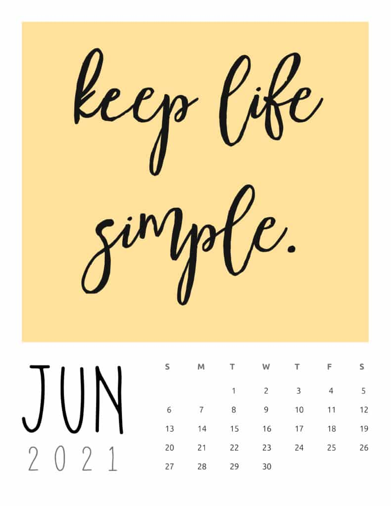 June 2021 Inspirational Quotes Calendar
