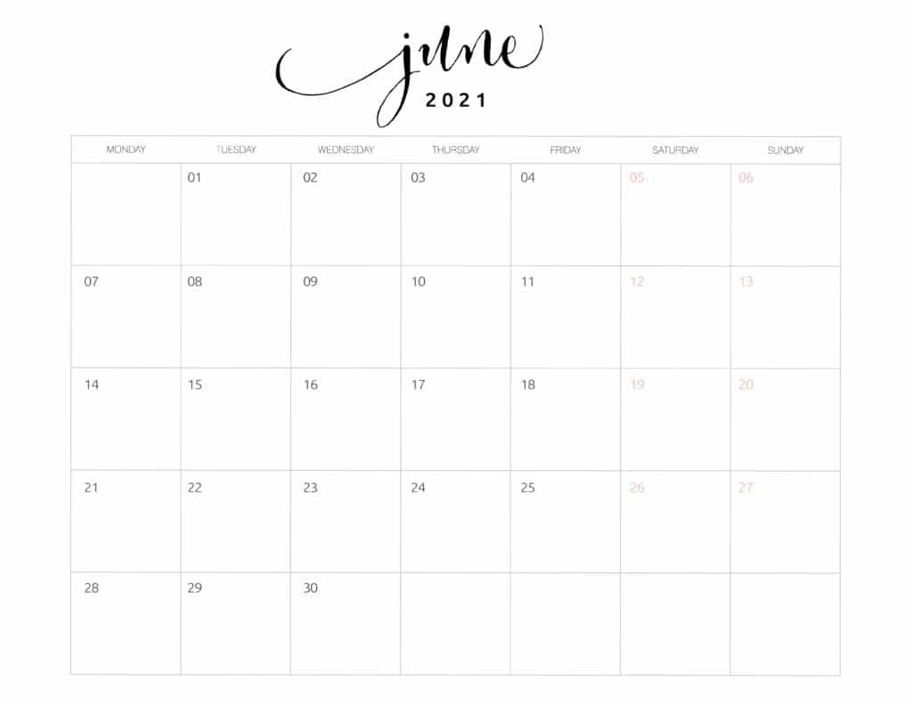 June 2021 Monthly Calendar Monday Start